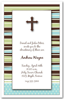 Brown Cross Baby Christening Invitations