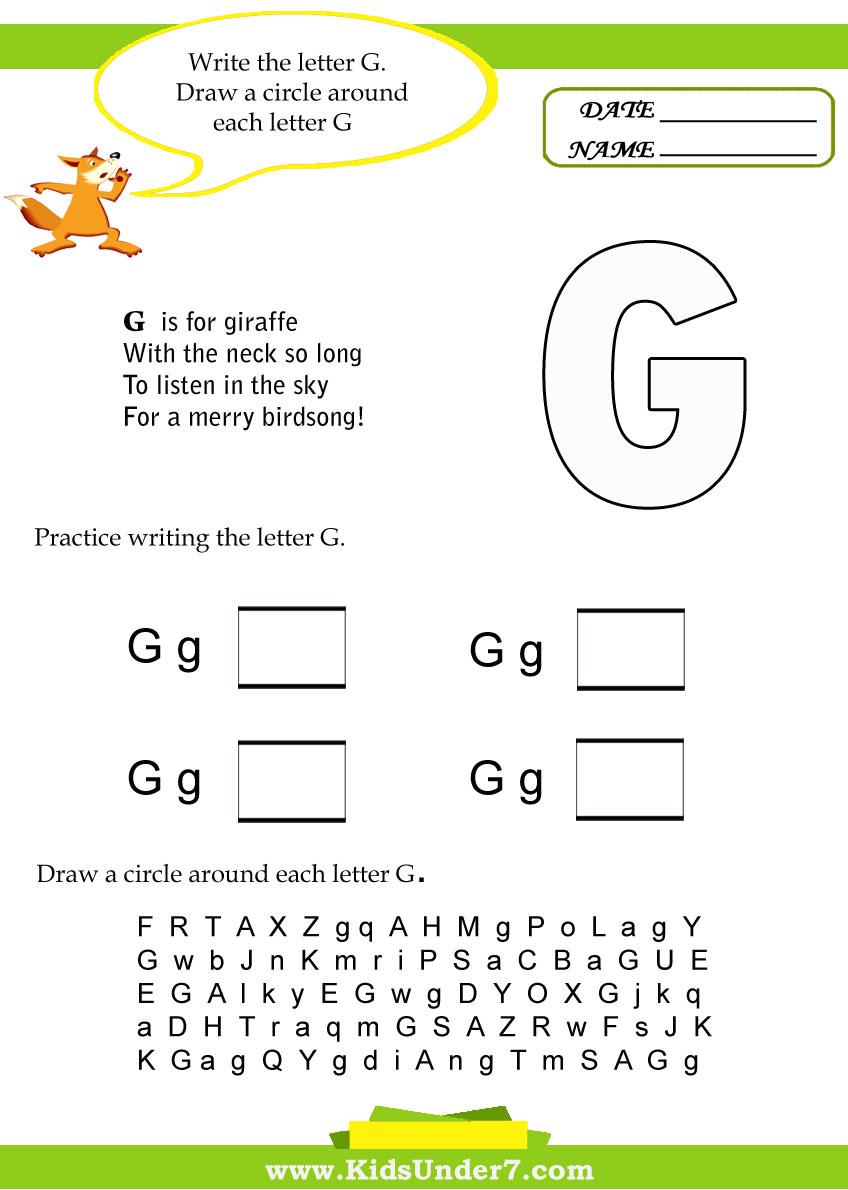Worksheets Letter G Worksheets kids under 7 letter g worksheets worksheets