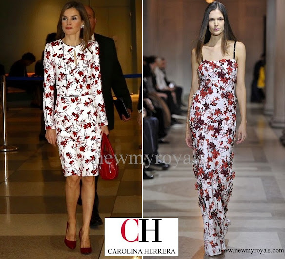 Queen Letizia wore CAROLINA HERRERA Floral Dress