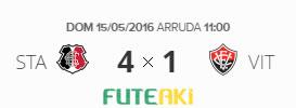 O placar de Santa Cruz 4x1 Vitória pela 1ª rodada do Brasileirão 2016
