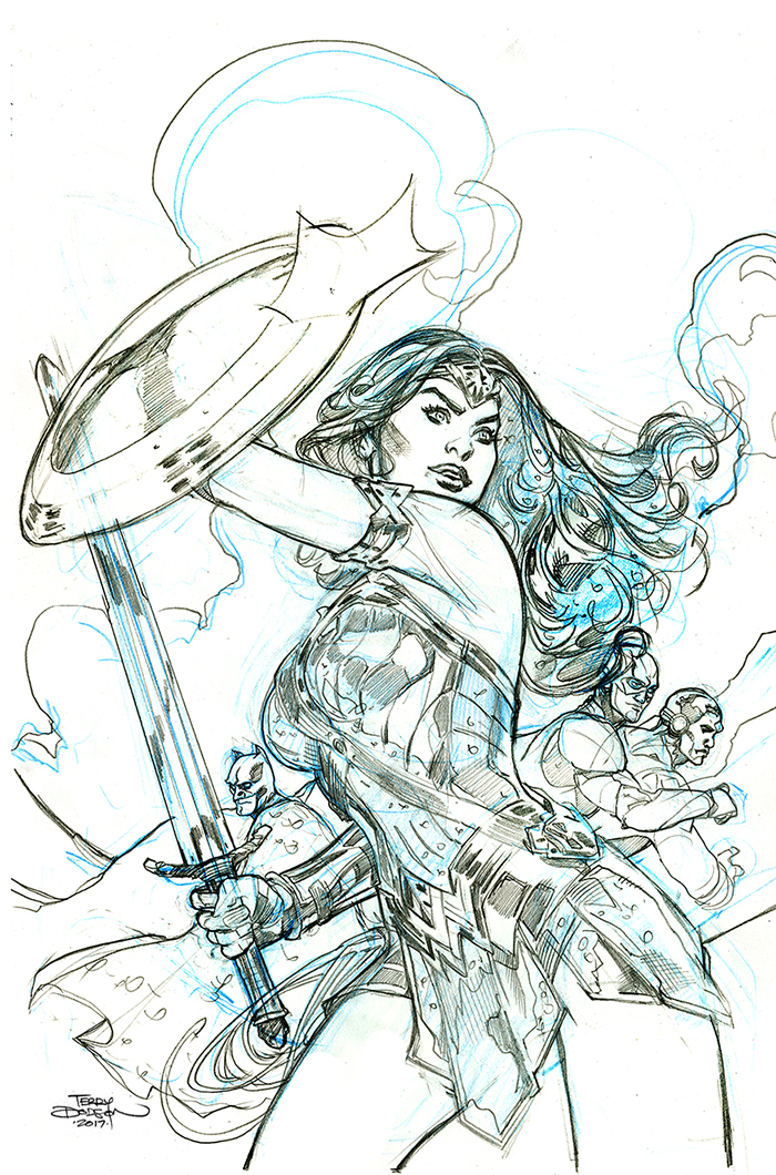 The Bombshellter Wonder Woman 34 Justice League Variant Cover Step