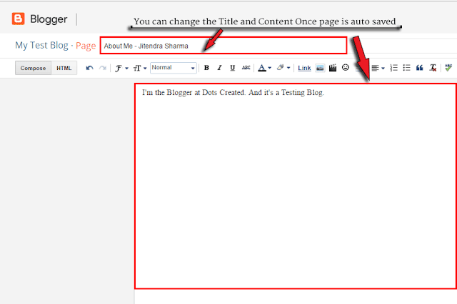 Page Editor in Blogger for Custom URL - Dots Created