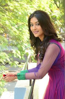 Actress Pooja Jhaveri Latest Stills in Purple Salwar Kameezt at Dwaraka Success Meet  0135.JPG