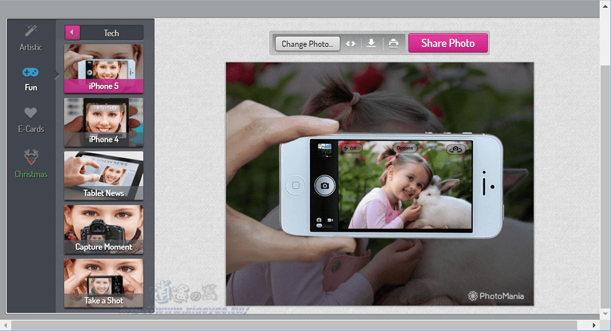PhotoMania 免費線上照片特效和趣味版型