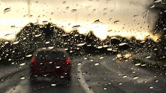 driving in the rain, sunset, Galway