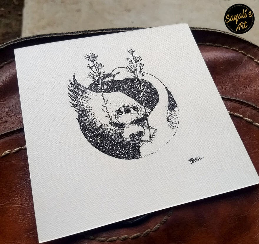08-Fly-Me-To-The-Moon-Sayali-Horambe-Stippling-Dots-and-Creating-Drawings-www-designstack-co