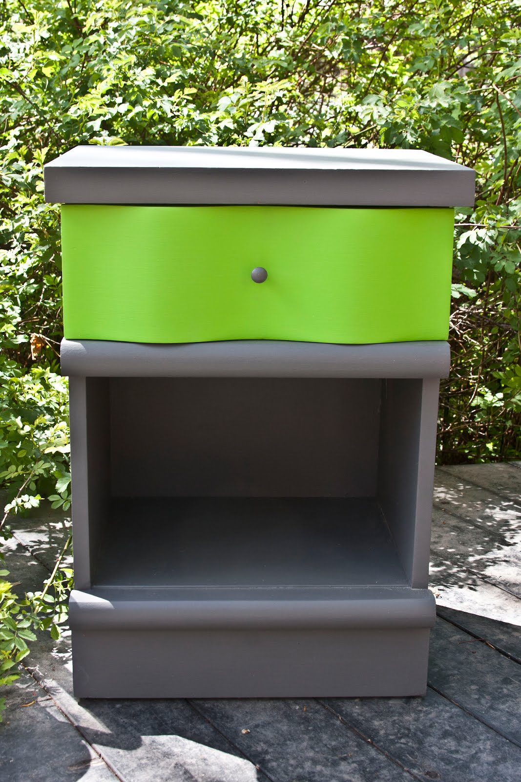 Retro Gray And Lime Nightstand