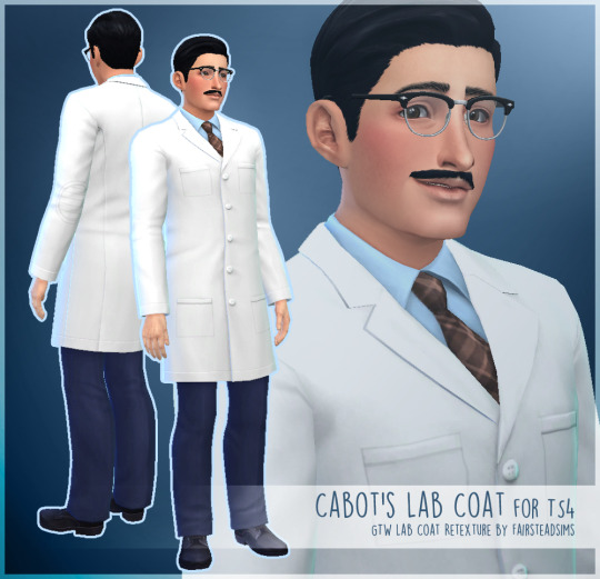 My Sims 4 Blog Cabot 39 S Lab Coat Retexture By Fairsteasims