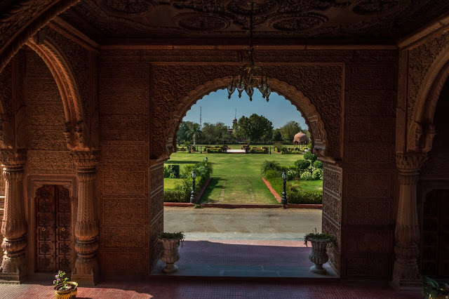 A view of the Laxmi Niwas Palace lawns from Porch