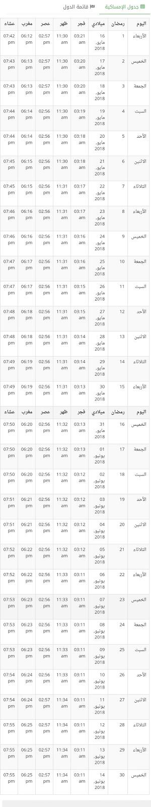 إمساكية رمضان في الكويت 1349 , 2018