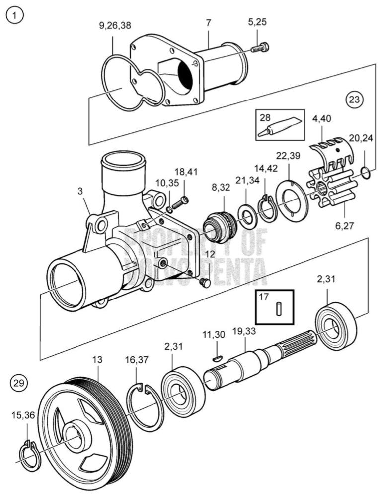 Pyssel: Volvo Penta D4/D6 water pump leak