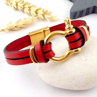 Kit tutoriel bracelet cuir rouge manille or