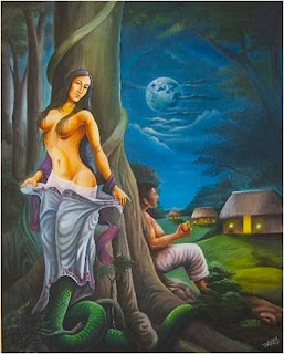Picture showing the Xtabay demon as a half naked women behind a tree