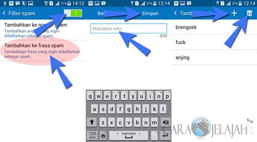 Memblokir kata-kata kotor, kekerasan, jorok pada pesan masuk / sms di android