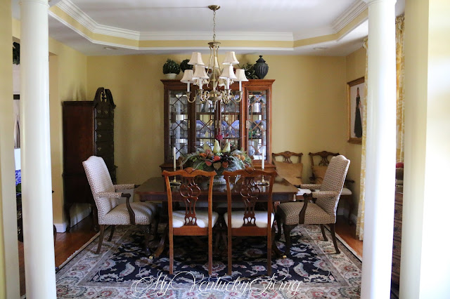 dining room, table, chairs, rug