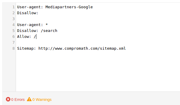Robots.txt tester in Google Webmaster Tool