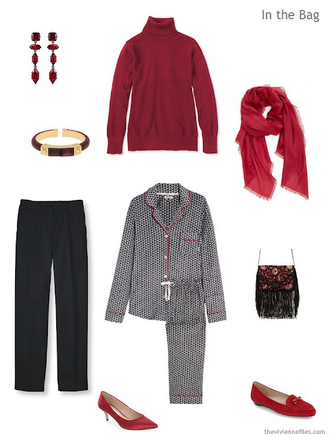 What to pack for overnight, in black and red in a travel capsule wardrobe