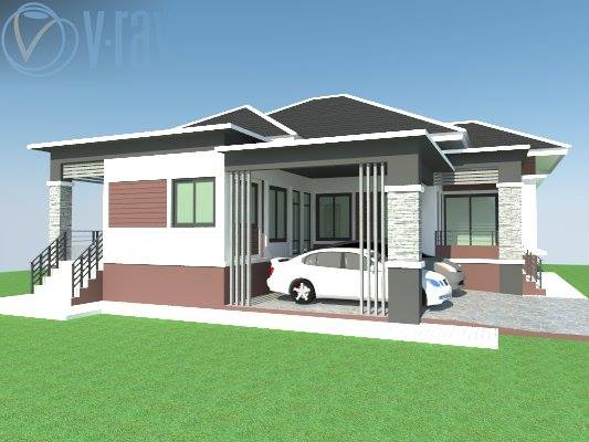 A single-storey house is a popular home choice. It is simple, economical, and convenient for the young and old alike. These are the examples of single-storey houses that consists of 3 bedrooms, 3-4 bathrooms, living area and a kitchen.,