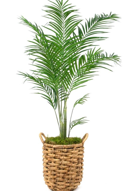 Faux Palm Basket Planter