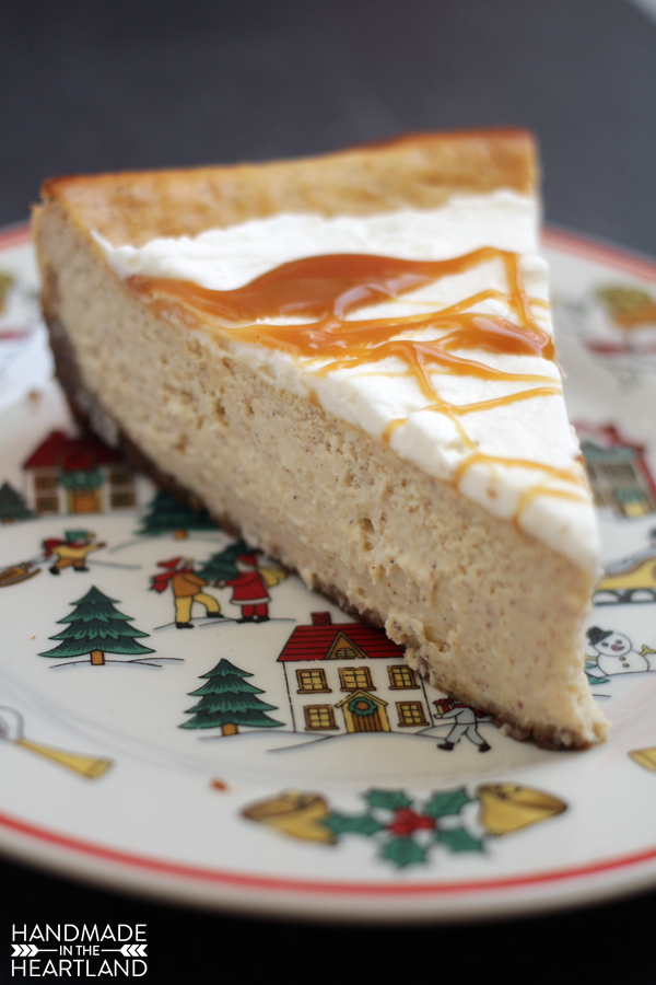Egg Nog Cheesecake is great with caramel sauce.