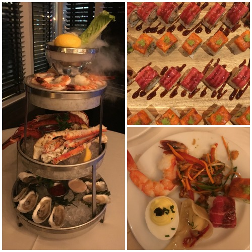 Ocean Prime Boston appetizers: sushi and smoking seafood tower