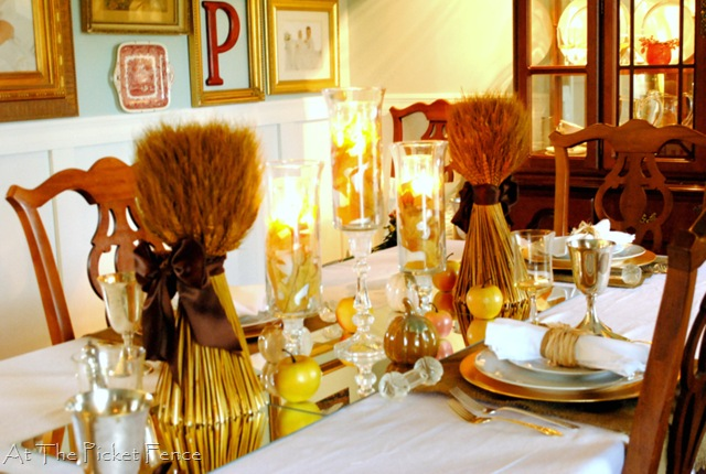 Dining Room Reveal and Thanksgiving Tablescape {At The Picket Fence} from Setting for Four
