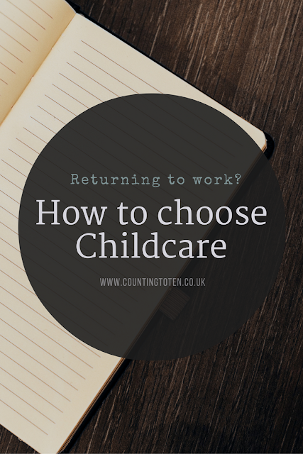 Text saying: Returning to Work? How to choose childcare www.countingtoten.co.uk over an image of an open notepad