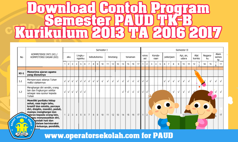 Download Contoh Program Semester PAUD TK-B Kurikulum 2013 TA 2016 2017