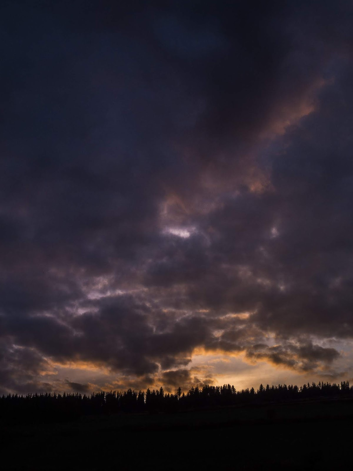 Sunset clouds over forestry on a mountain in North Cork, Ireland.