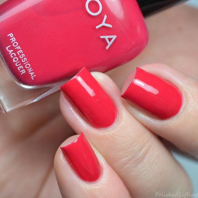 hot coral pink nail polish