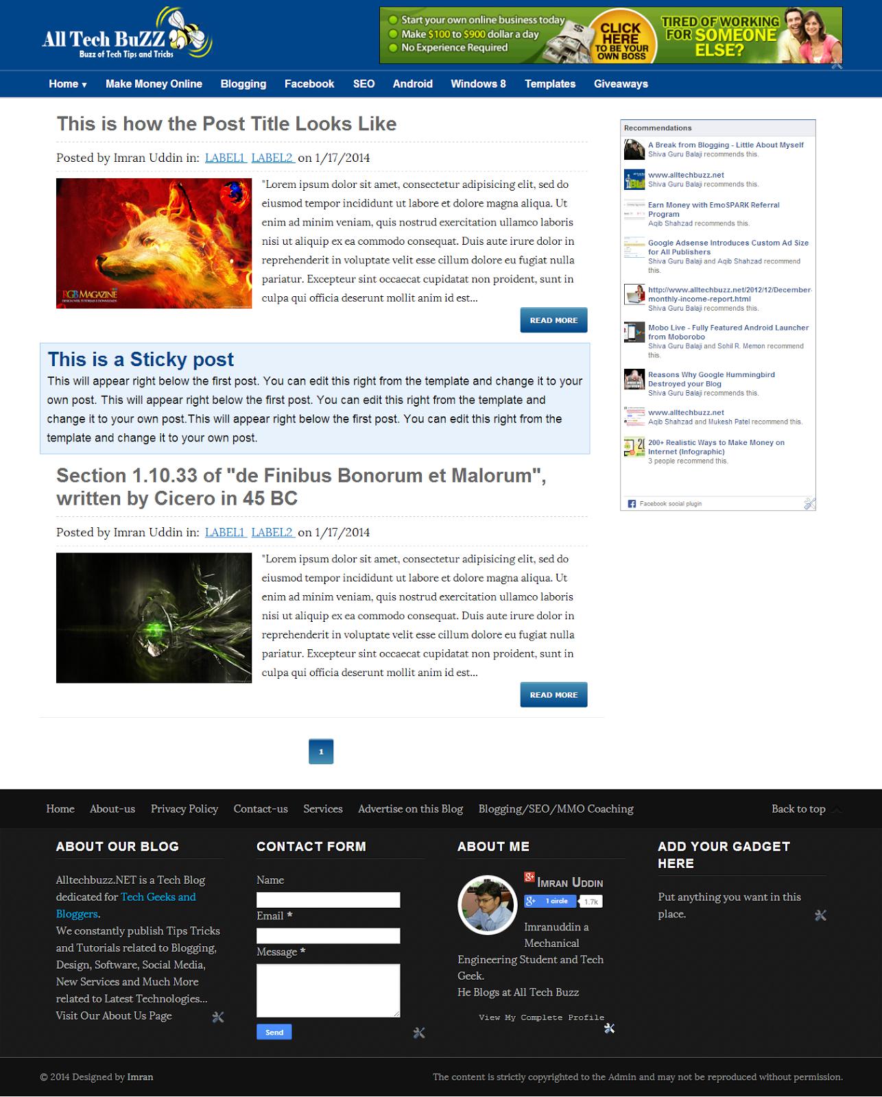 Top Seo Optimized Adsense Friendly Responsive Blogger Templates