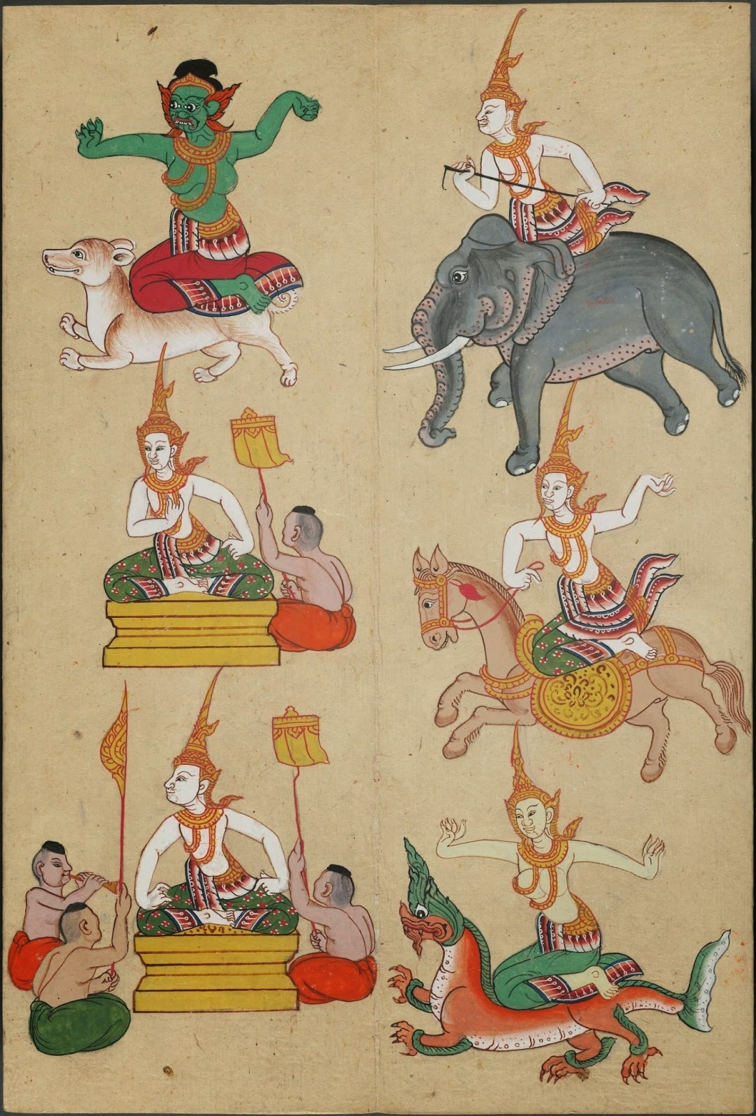 8 colour figures from Thailand on a page : representing zodiac year