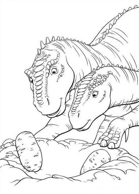 Tranh tô màu khủng long ăn chăm sóc trứng của mình