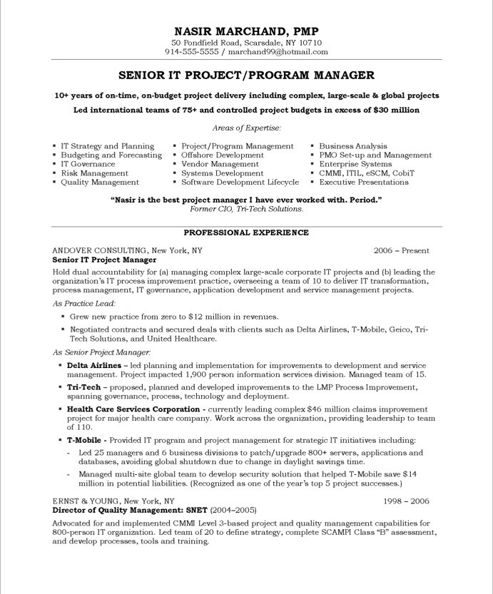 sample resume for project manager sample resumes