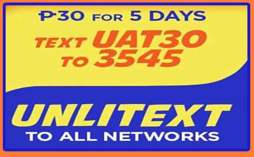 Talk N Text 30 Pesos UAT30 Promo – 5 days Unli-Text to All Networks