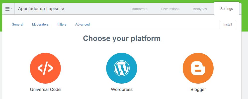 Tela onde o usuário poderá escolher entre várias plataformas.