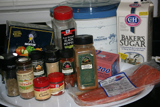 Ingredients needed for Jamaican Rub Salmon. The Jerk seasoning blend is AWESOME.