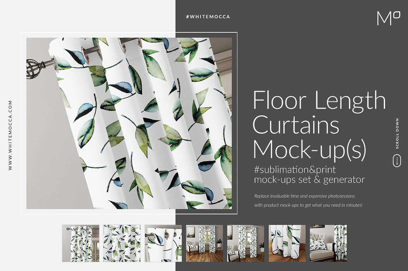Floor Length Curtains Mockups