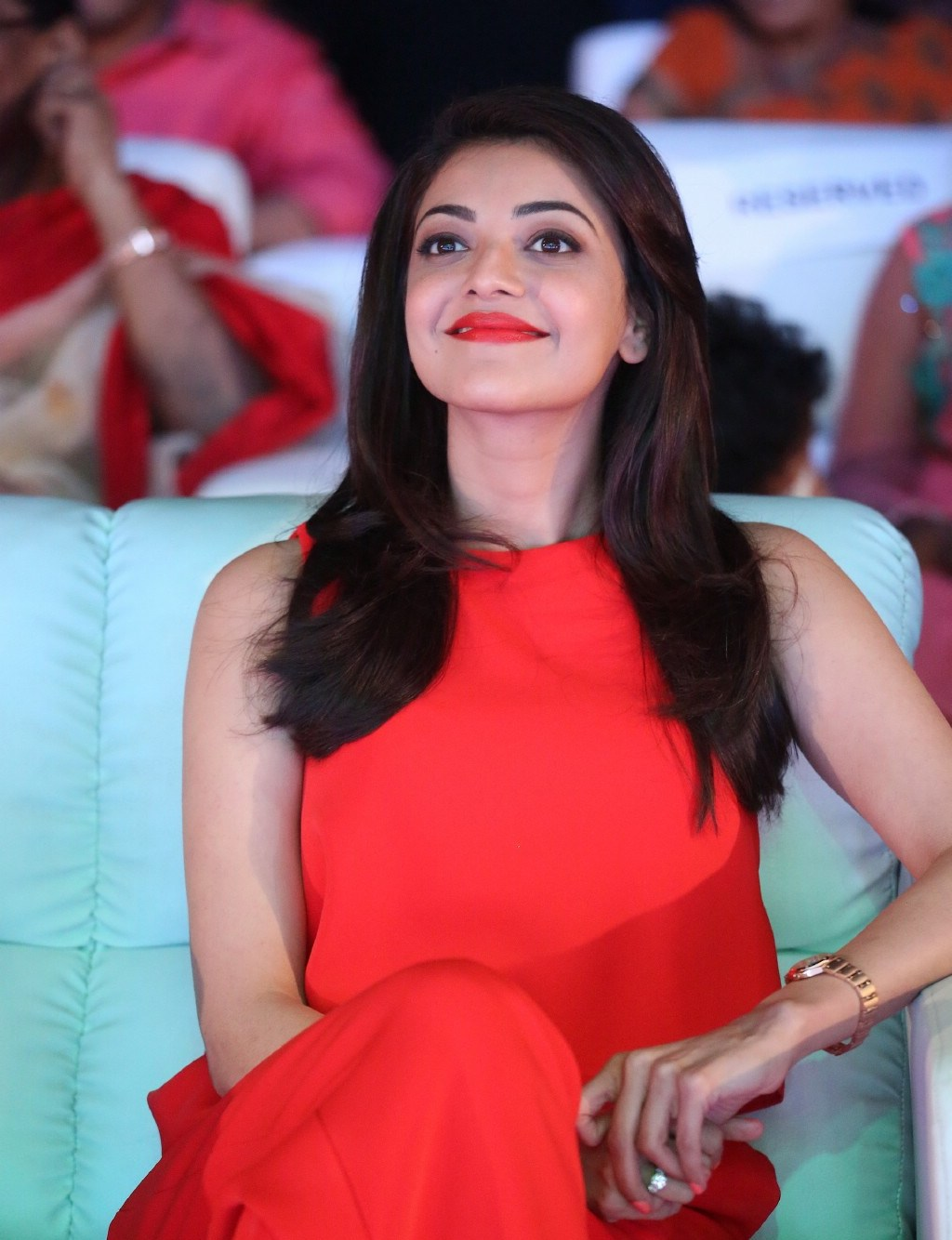 Kajal Aggarwal Looks Super Sexy In Red Dress At Telugu -7773