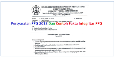 Persyaratan PPG 2018 dan Contoh Pakta Integritas PPG (PPGJ) 2018