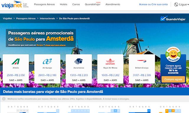 Passagens promocionais para Amsterdã