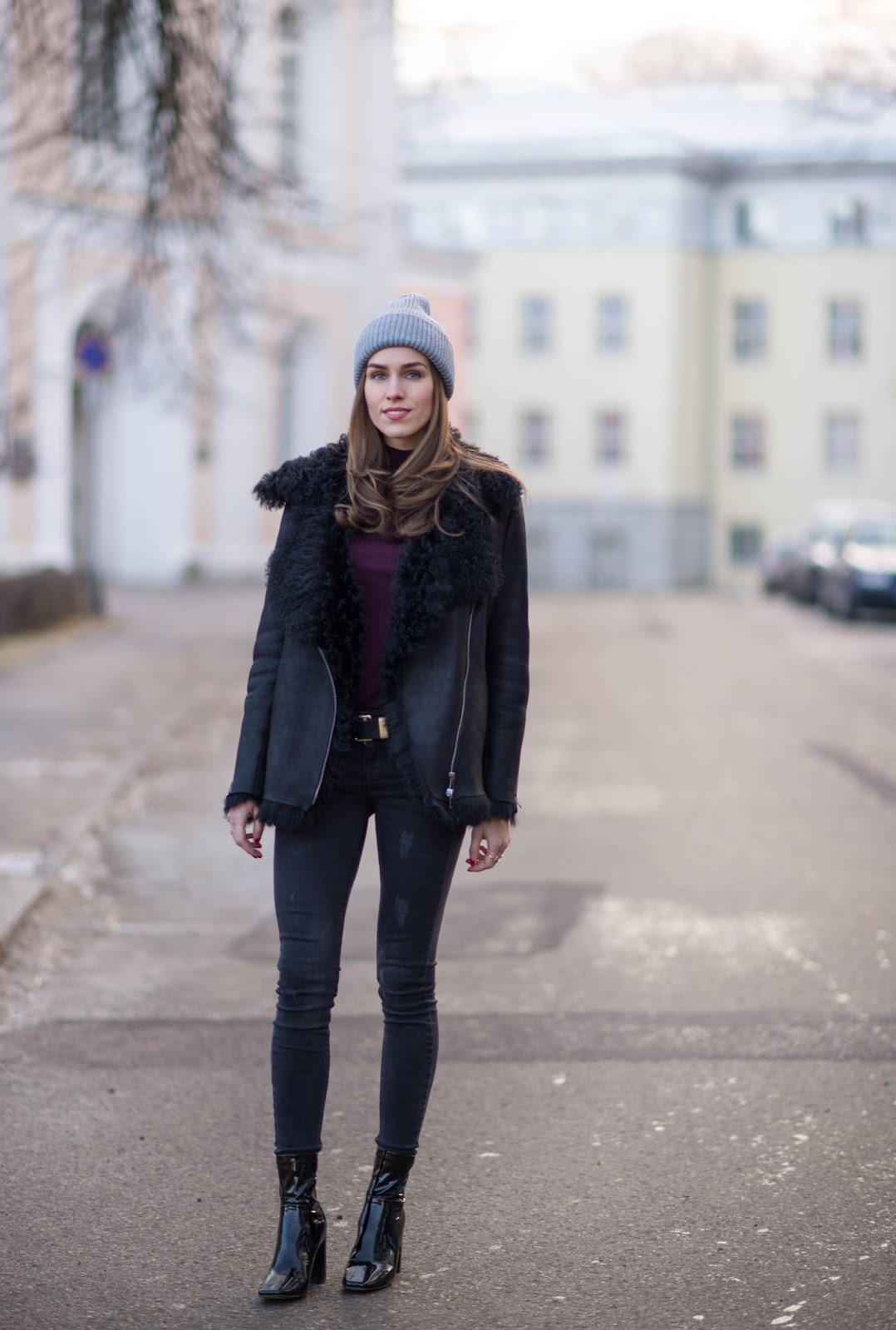 patent sock boots outfit winter shearling jacket