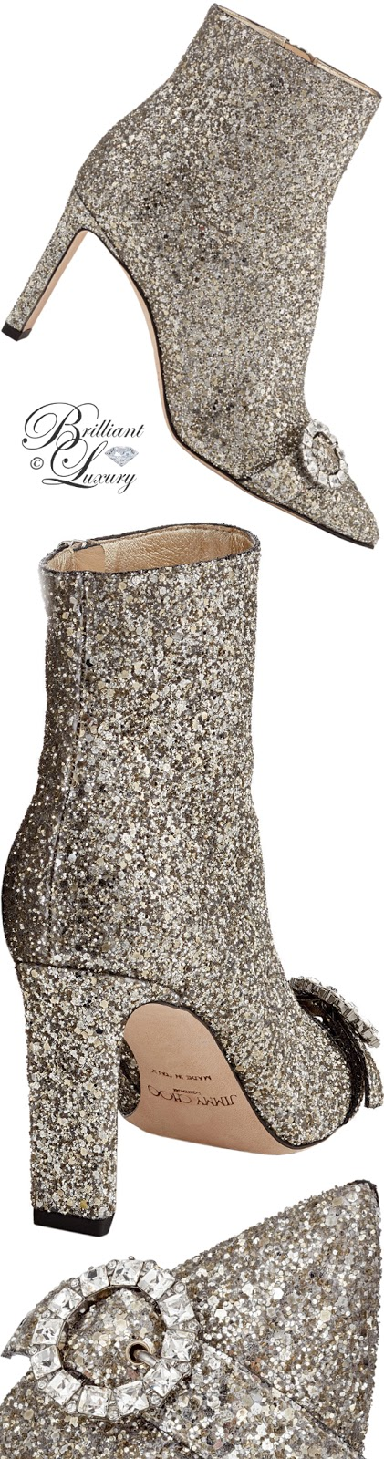 Brilliant Luxury ♦ Jimmy Choo Hanover chai shadow coarse glitter fabric booties with crystal buckle