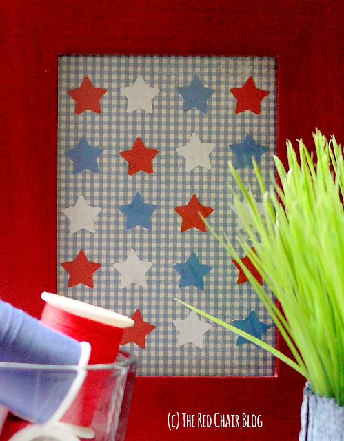 Easy DIY 4th of July vignette with plant, thread, and star collage at The Red Chair Blog