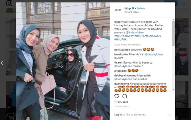 Heboh Lindsay lohan Pakai Hijab, Netizen Indonesia: Oh my God Lindsay Mualaf??