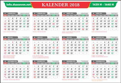 Download, Kalender 2018 Pdf, CDR, PNG Lengkap, Hijriyah dan Jawa Gratis