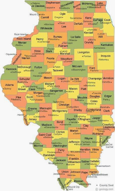 Colorful Illinoise counties map