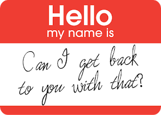 Name tag with writing
