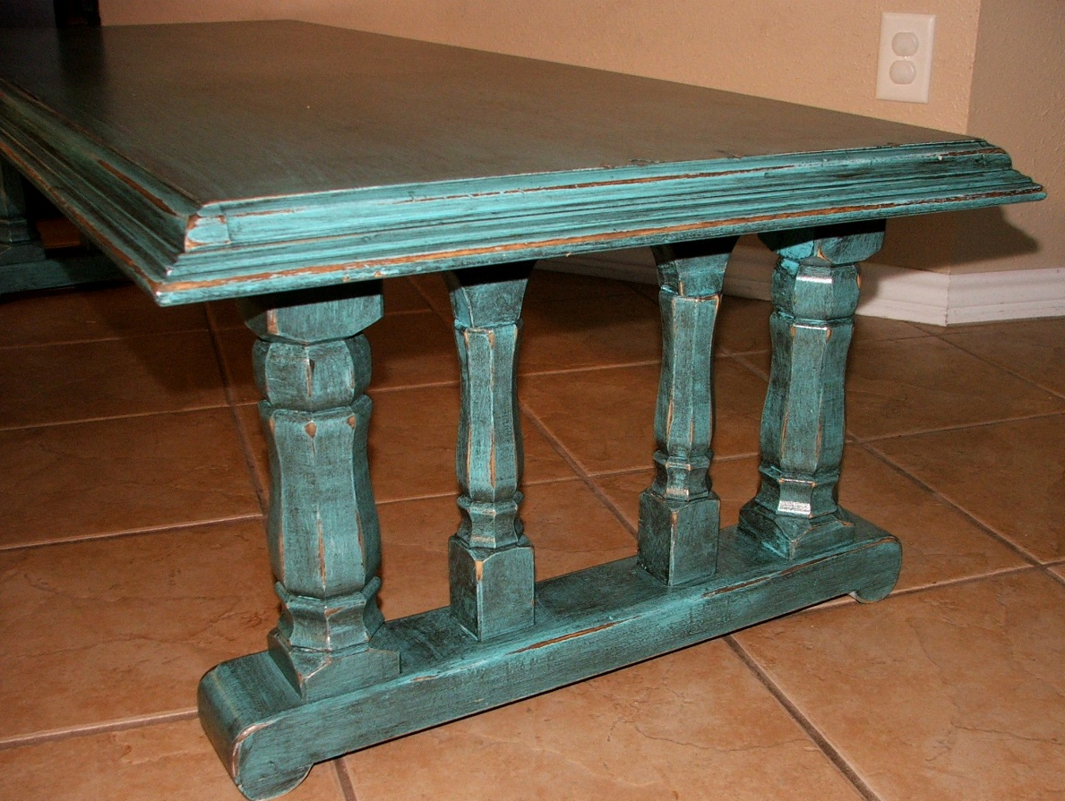 Turquoise black chunky coffee table facelift furniture for Large chunky coffee table