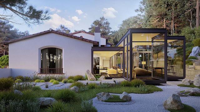 Desain 3D Bangunan Rumah Kontemporer